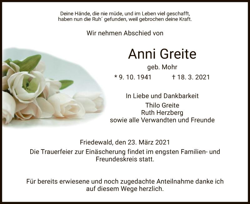 Traueranzeige für Anni Greite vom 23.03.2021 aus HZ