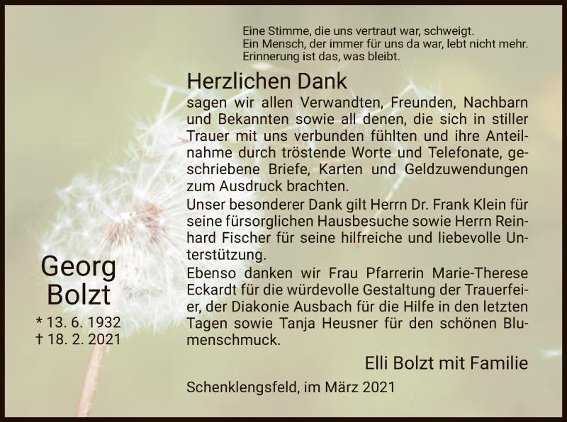Traueranzeige für Georg Bolzt vom 27.03.2021 aus HZ