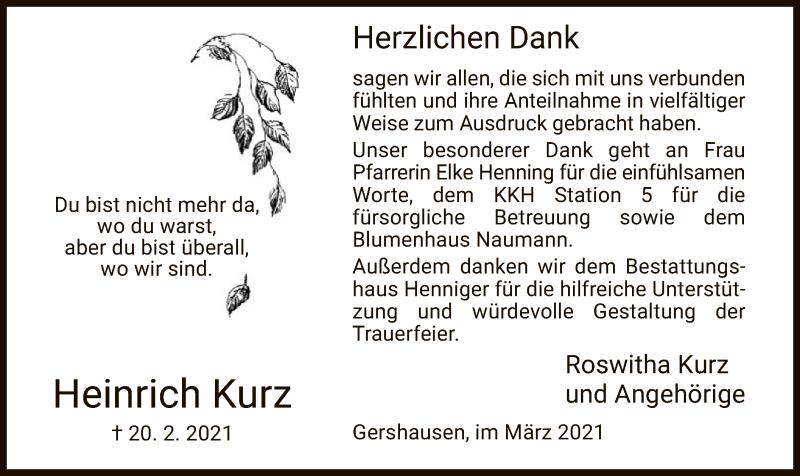 Traueranzeige für Heinrich Kurz vom 13.03.2021 aus HZ