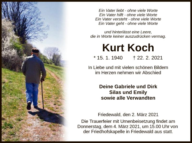 Traueranzeige für Kurt Koch vom 02.03.2021 aus HZ