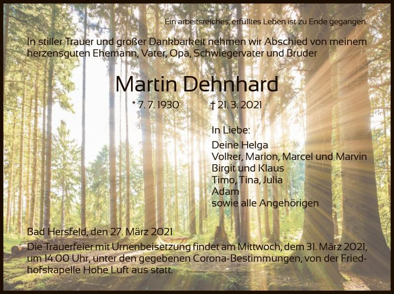 Traueranzeige für Martin Dehnhard vom 27.03.2021 aus HZ