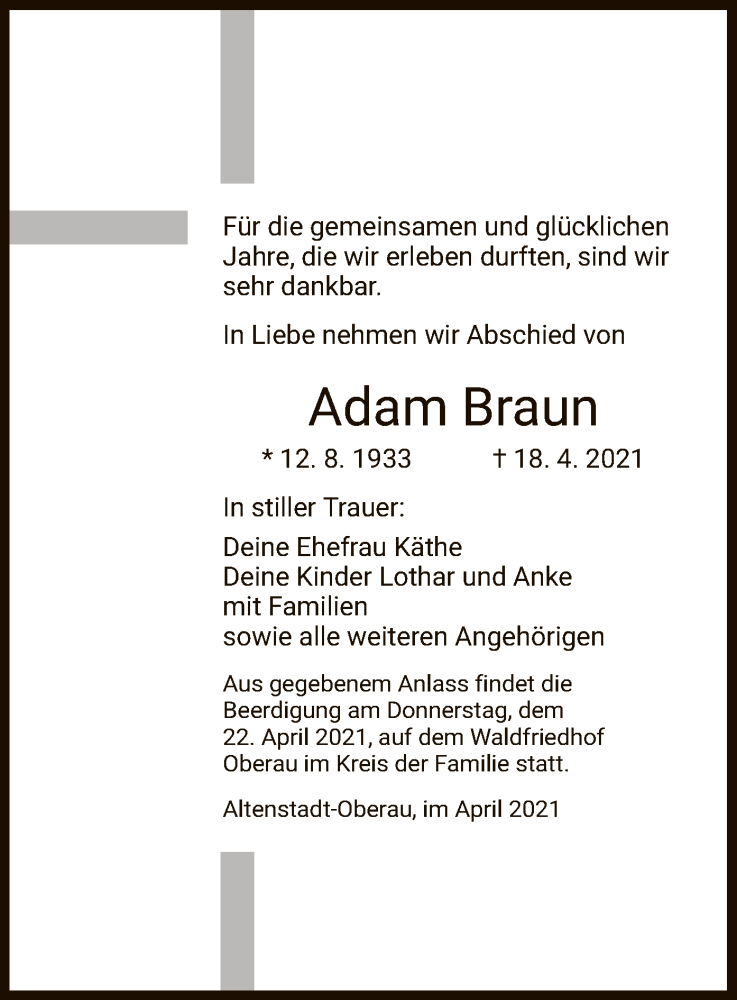 Traueranzeige für Adam Braun vom 21.04.2021 aus HZ