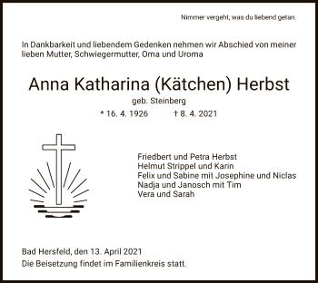 Traueranzeige von Anna Katharina Herbst von HZ