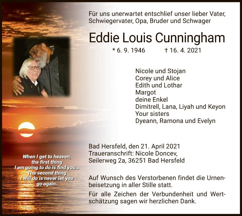 Traueranzeige für Eddie Louis Cunningham vom 21.04.2021 aus HZ