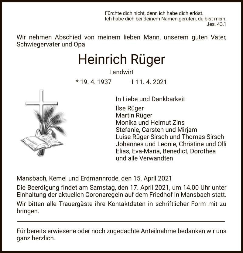 Traueranzeige für Heinrich Rüger vom 15.04.2021 aus HZ