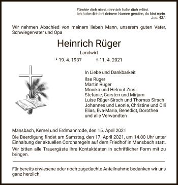 Traueranzeige von Heinrich Rüger von HZ