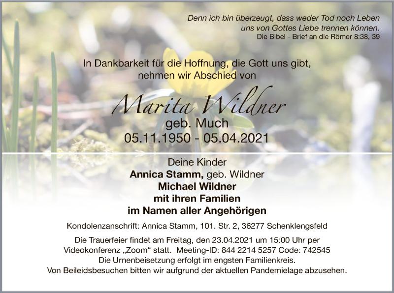 Traueranzeige für Marita Wildner vom 16.04.2021 aus HZ
