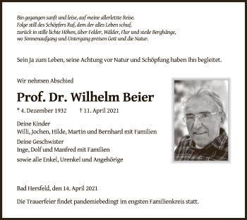 Traueranzeige von Wilhelm Beier von HZ