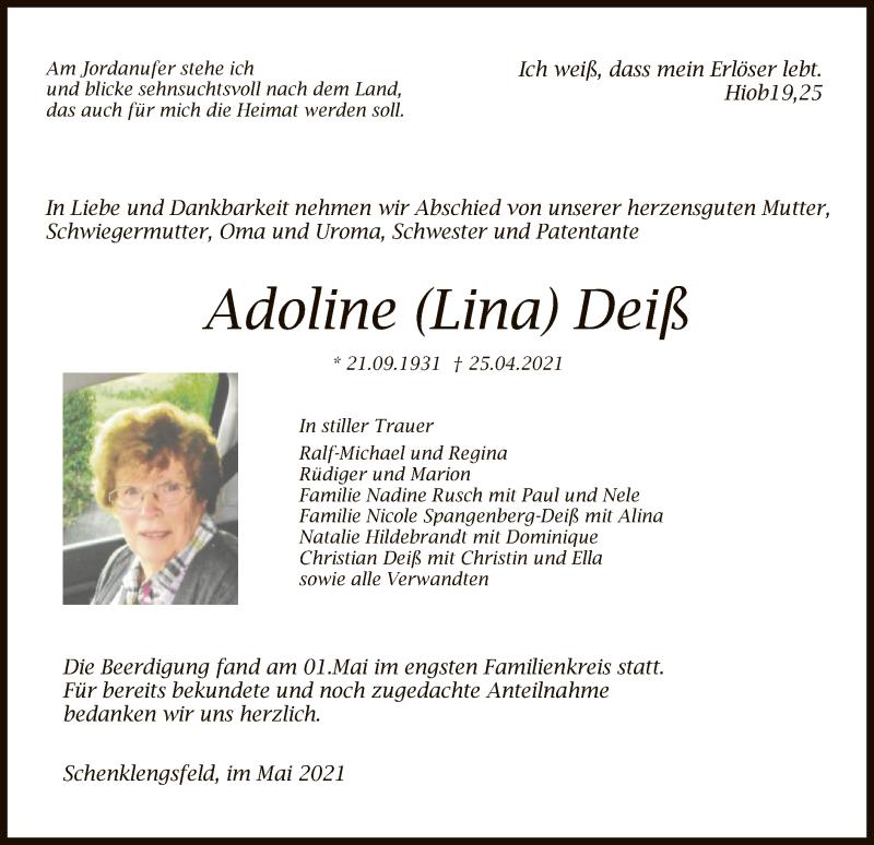 Traueranzeige für Adoline Deiß vom 03.05.2021 aus HZ