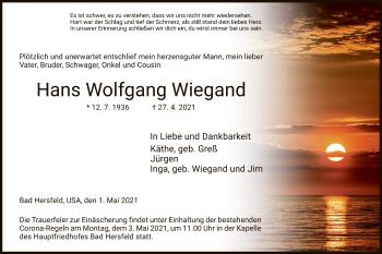 Traueranzeige von Hans Wolfgang Wiegand von HZ
