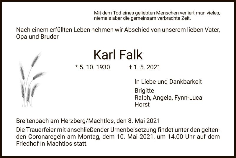 Traueranzeige für Karl Falk vom 08.05.2021 aus HZ