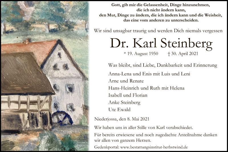 Traueranzeige für Karl Steinberg vom 08.05.2021 aus HZ