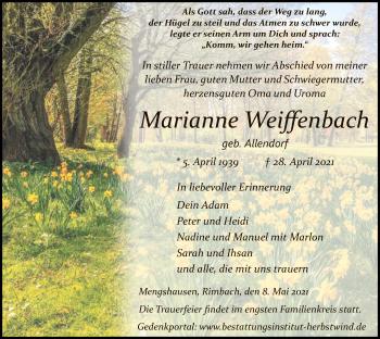 Traueranzeige von Marianne Weiffenbach von HZ