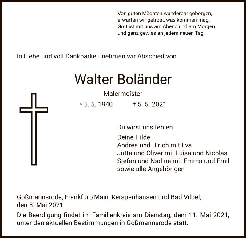 Traueranzeige für Walter Boländer vom 08.05.2021 aus HZ