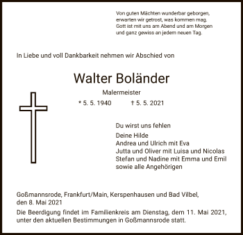 Traueranzeige von Walter Boländer von HZ