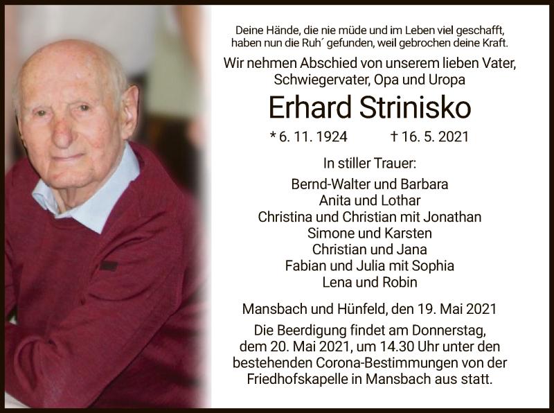 Traueranzeige für Erhard Strinisko vom 19.05.2021 aus HZ