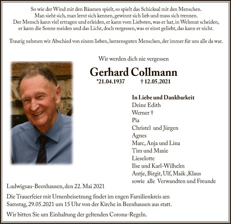 Traueranzeige für Gerhard Collmann vom 26.05.2021 aus HZ