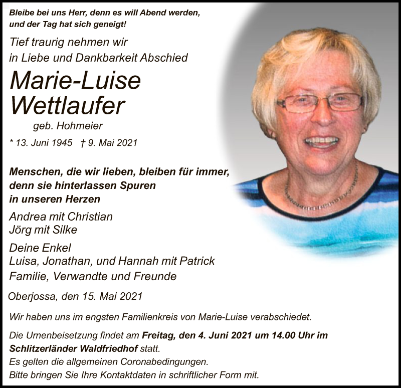 Traueranzeige für Marie-Luise Wettlaufer vom 15.05.2021 aus HZ