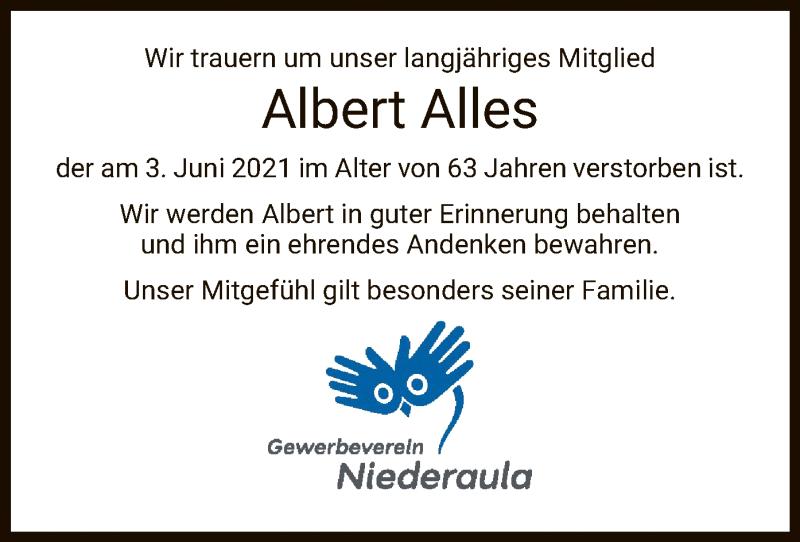 Traueranzeige für Albert Alles vom 09.06.2021 aus HZ
