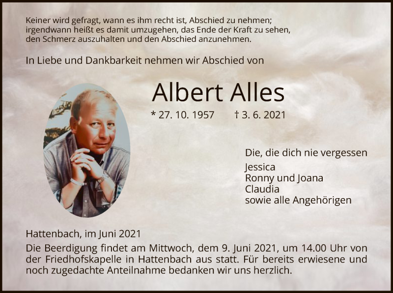 Traueranzeige für Albert Alles vom 07.06.2021 aus HZ