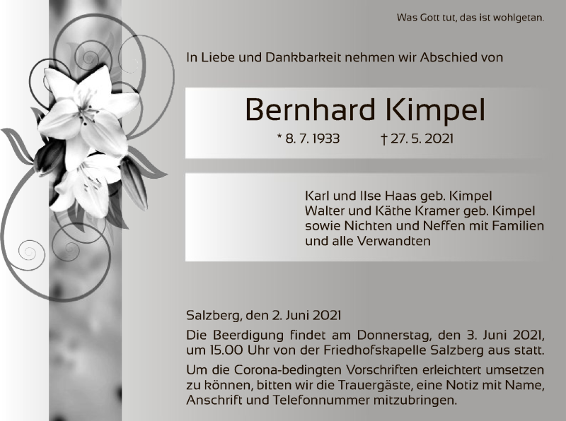 Traueranzeige für Bernhard Kimpel vom 02.06.2021 aus HZ