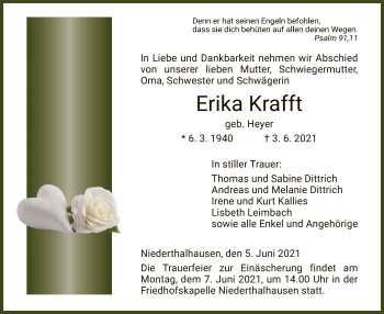 Traueranzeige von Erika Krafft von HZ