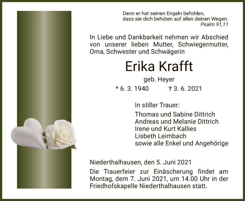Traueranzeige für Erika Krafft vom 05.06.2021 aus HZ