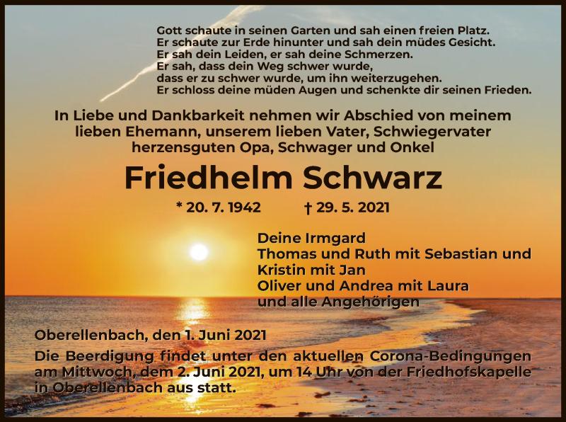 Traueranzeige für Friedhelm Schwarz vom 01.06.2021 aus HNA