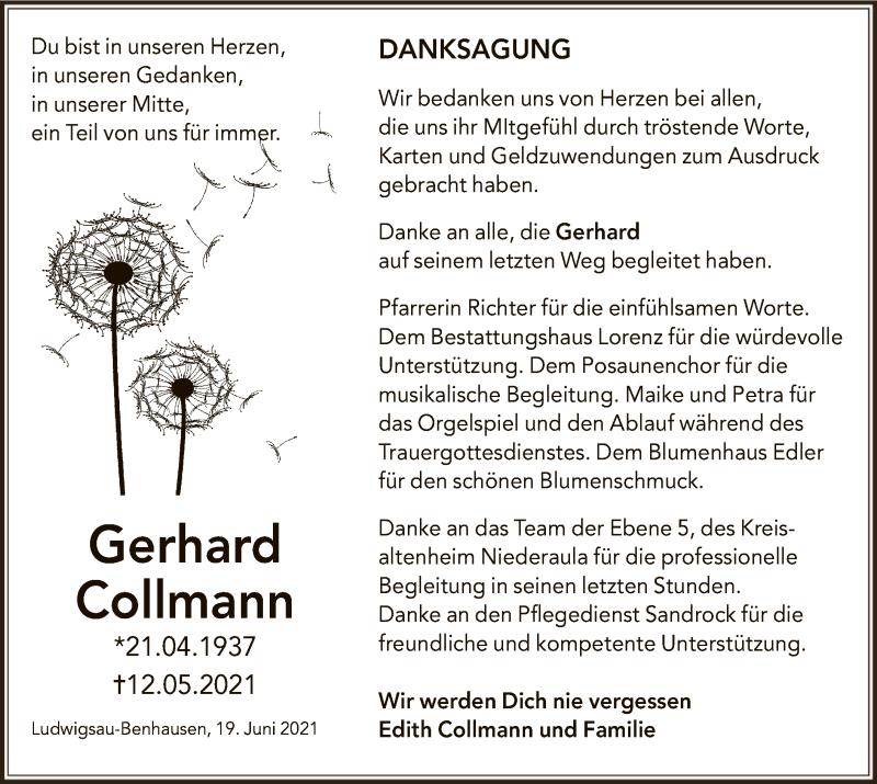 Traueranzeige für Gerhard Collmann vom 19.06.2021 aus HZ