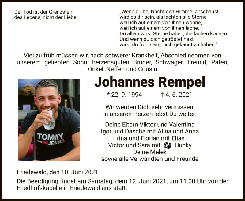 Traueranzeige für Johannes Rempel vom 10.06.2021 aus HZ