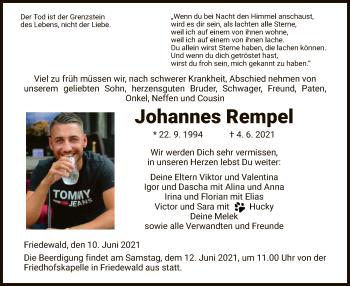 Traueranzeige von Johannes Rempel von HZ