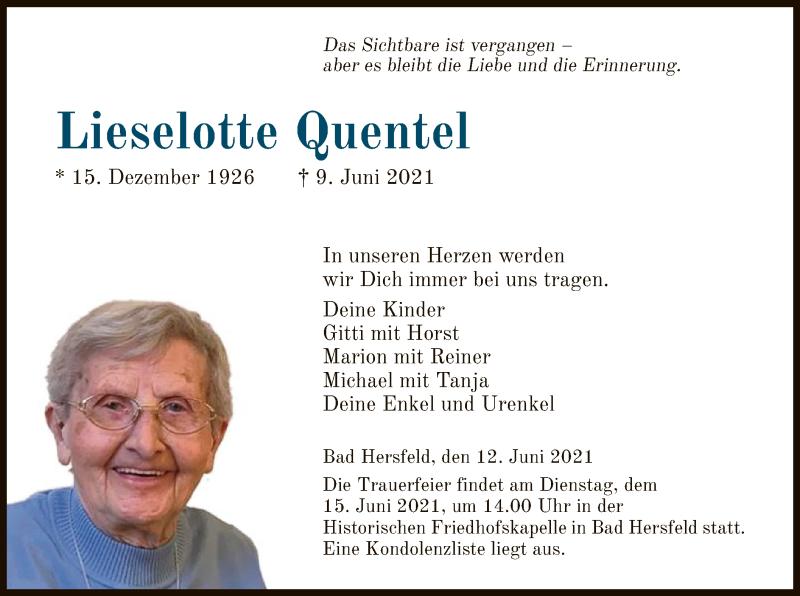 Traueranzeige für Lieselotte Quentel vom 12.06.2021 aus HZ
