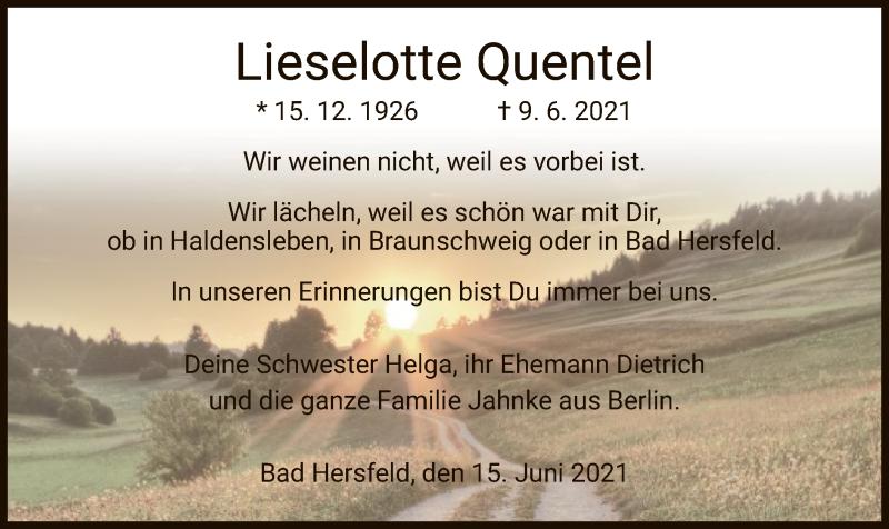 Traueranzeige für Lieselotte Quentel vom 15.06.2021 aus HZ
