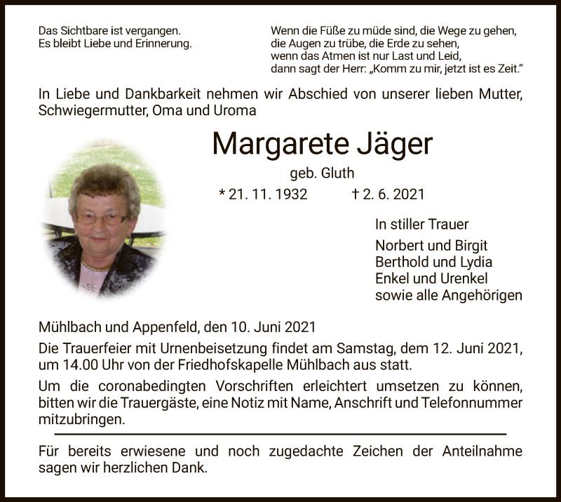 Traueranzeige für Margarete Jäger vom 10.06.2021 aus HZ