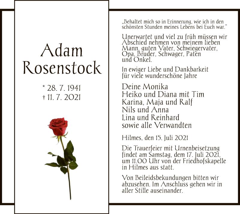 Traueranzeige für Adam Rosenstock vom 15.07.2021 aus HZ