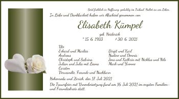 Traueranzeige von Elisabeth Kümpel von HZ