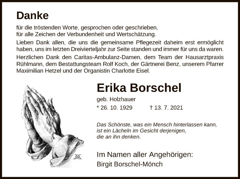 Traueranzeige für Erika Borschel vom 31.07.2021 aus HNA