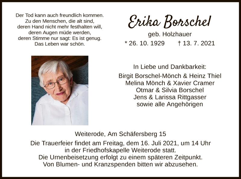 Traueranzeige für Erika Borschel vom 15.07.2021 aus HNA