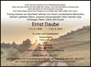 Traueranzeige von Ernst Daube von HZ
