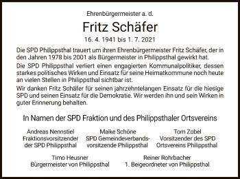 Traueranzeige von Fritz Schäfer von HZ