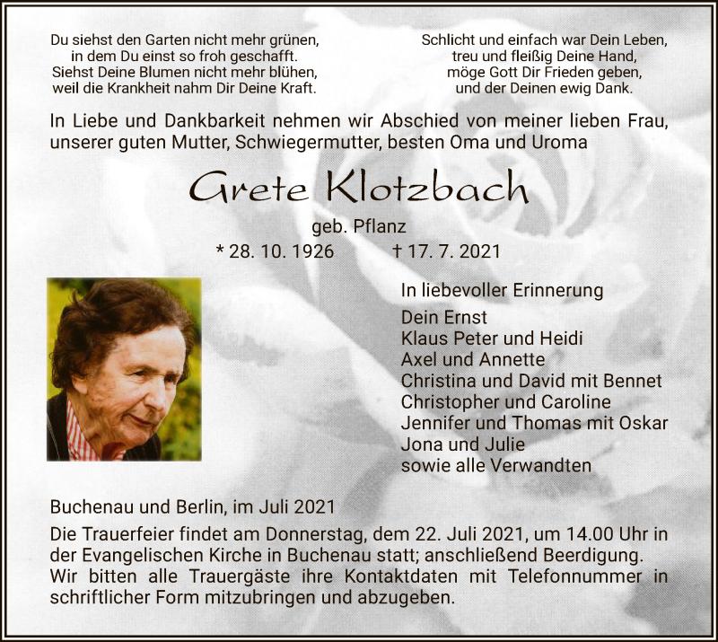 Traueranzeige für Grete Klotzbach vom 20.07.2021 aus HZ