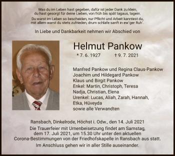 Traueranzeige von Helmut Pankow von HZ