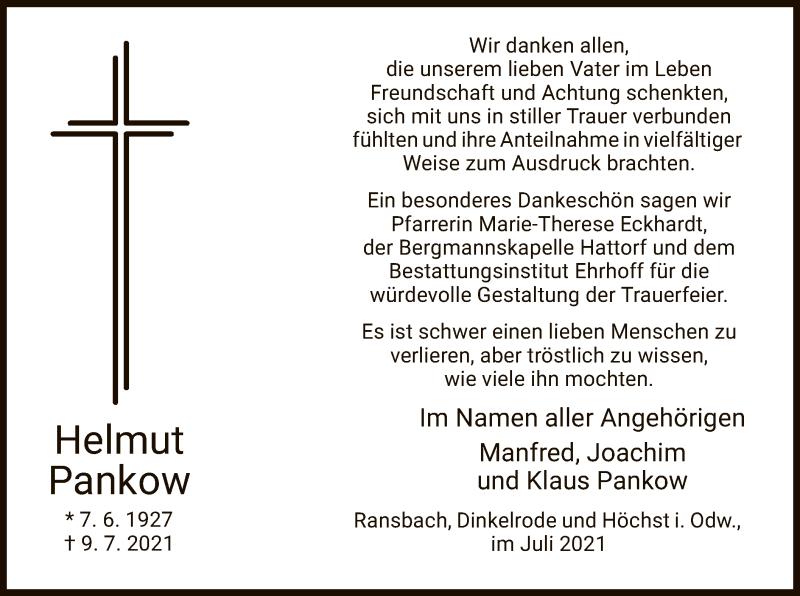 Traueranzeige für Helmut Pankow vom 31.07.2021 aus HZ