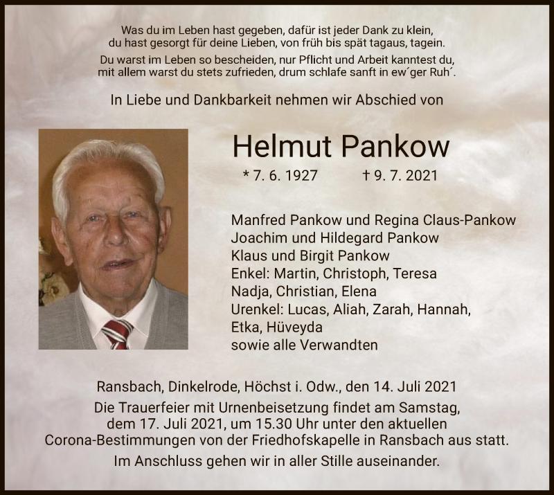 Traueranzeige für Helmut Pankow vom 14.07.2021 aus HZ