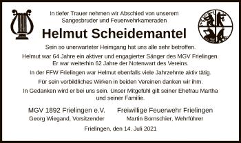 Traueranzeige von Helmut Scheidemantel von HZ