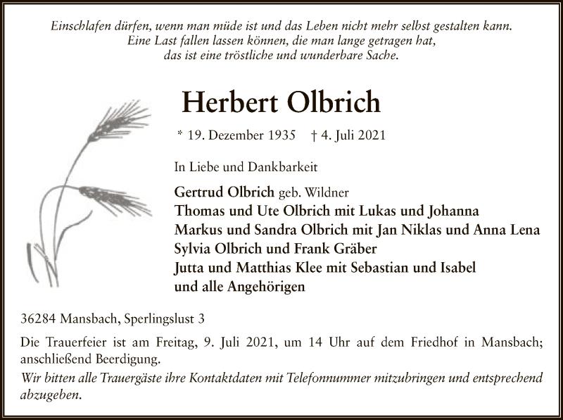 Traueranzeige für Herbert Olbrich vom 07.07.2021 aus HZ