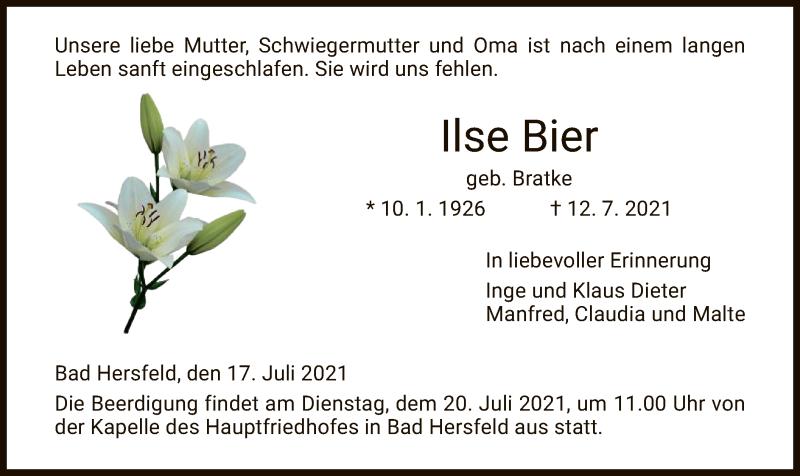 Traueranzeige für Ilse Bier vom 17.07.2021 aus HZ