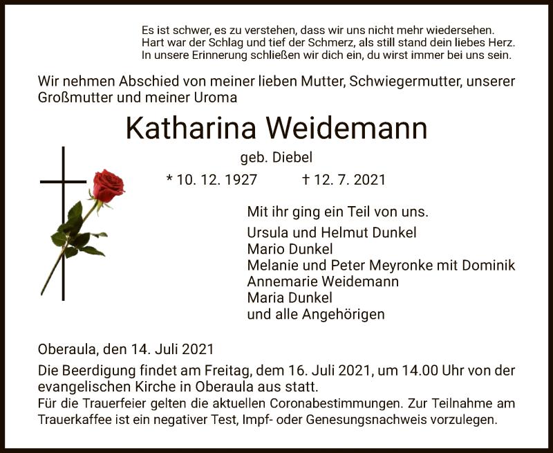 Traueranzeige für Katharina Weidemann vom 14.07.2021 aus HZ