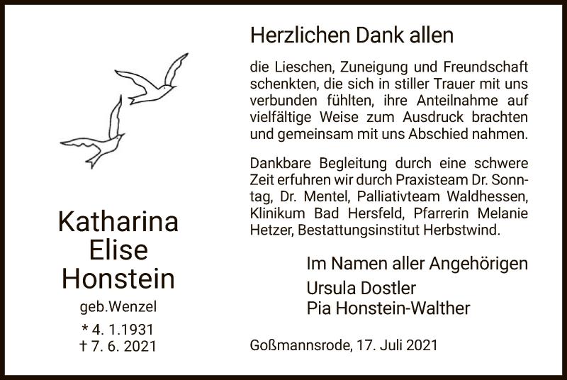 Traueranzeige für Katharina Elise Honstein vom 17.07.2021 aus HZ