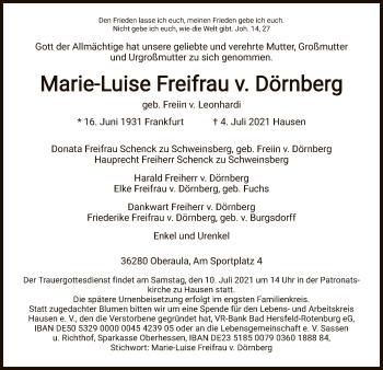 Traueranzeige von Marie-Luise Freifrau v. Dörnberg von HNA